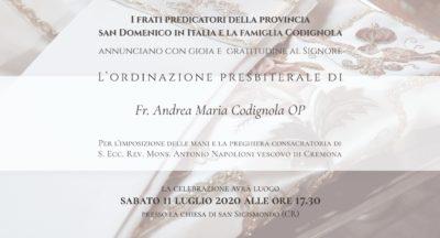 Ordinazione presbiterale di Fr. Andrea Maria Codignola OP – 11 luglio 2020